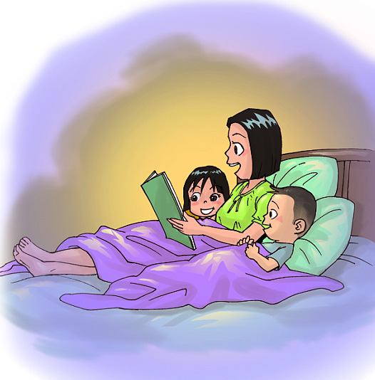 ภาพแม่เล่านิทานให้ลูกทั้งสองฟังบนเตียง