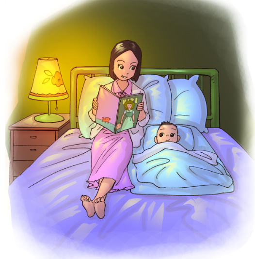 ภาพแม่เล่านิทานให้ลูกฟังก่อนนอนตั้งแต่ลูกยังเป็นทารก