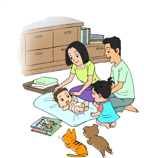 ภาพครอบครัวพ่อ แม่ ลูกคนโตลูกคนเล็ก พร้อมกับหนังสือนิทานวางอยู่ข้างๆ